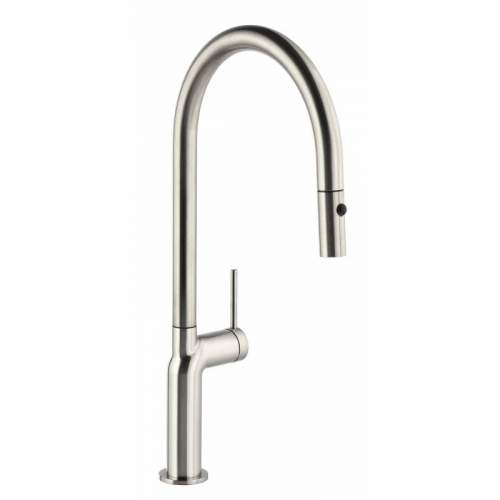 Abode Tubist AT1230 Single Lever Pull Out Kitchen Tap in Brushed Nickel