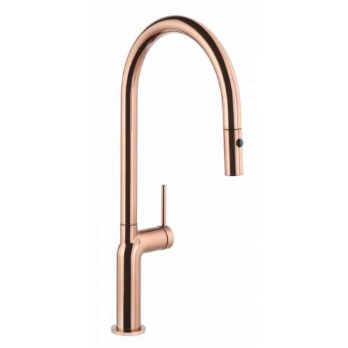Abode Tubist AT1232 Single Lever Pull Out Kitchen Tap in Polished Copper