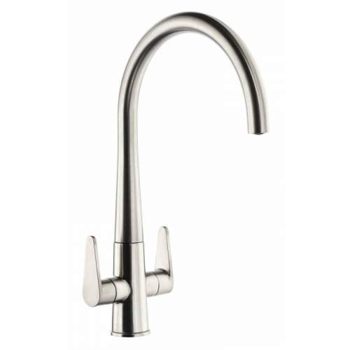 Abode Coniq R AT2124 Dual Lever Monobloc Kitchen Tap in Brushed Nickel