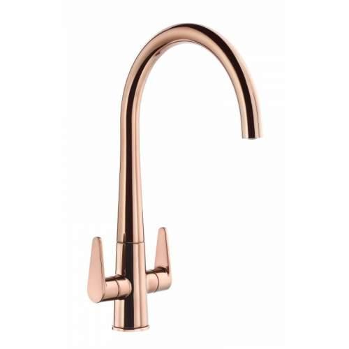 Abode Coniq R AT2126 Dual Lever Monobloc Kitchen Tap in Polished Copper