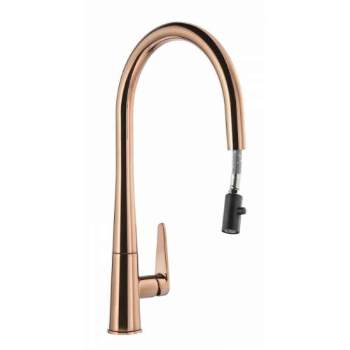 Abode Coniq R AT2122 Single Lever Pull Out Kitchen Tap in Polished Copper