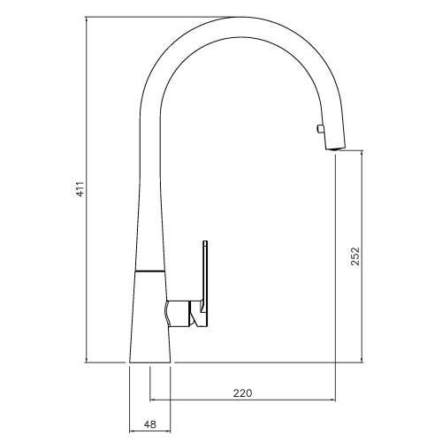 Abode Coniq R Single Lever Pull Out Kitchen Tap