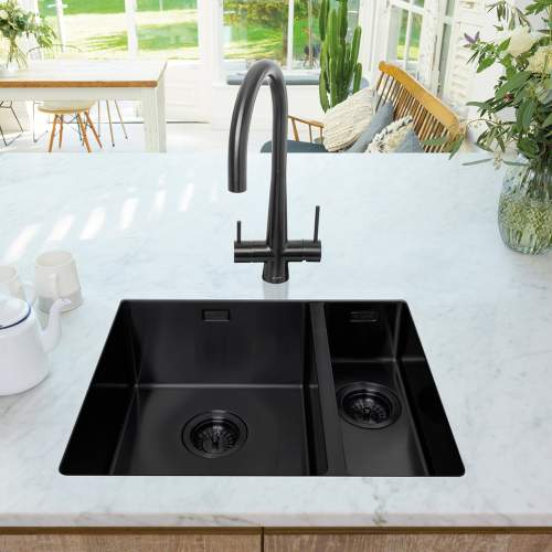 Caple MODE 3415 1.5 Bowl Kitchen Sink in Black Steel