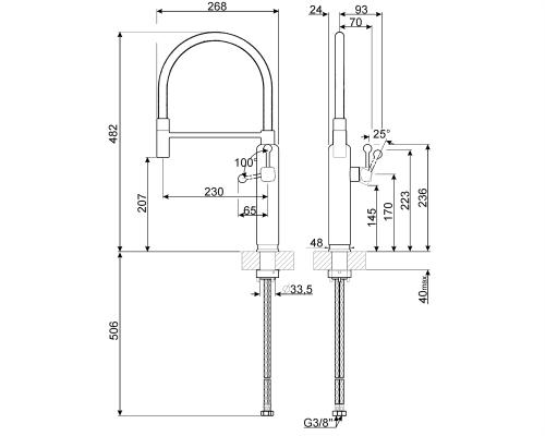 Smeg MDF50CR Single Lever Semi Professional 50's Retro Kitchen Tap