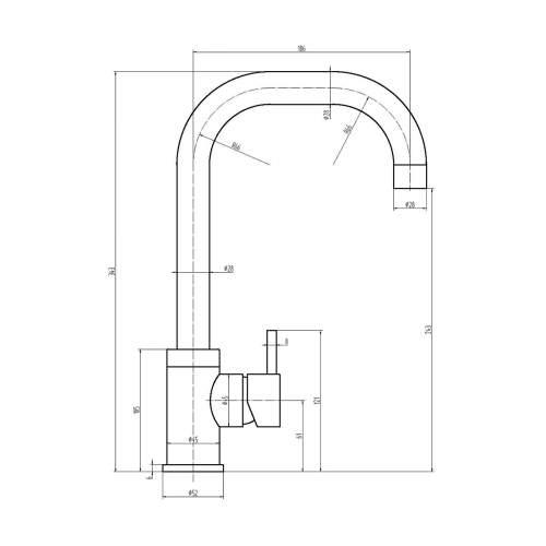 Reginox OBION Single Lever Monobloc Kitchen Mixer Tap in Black