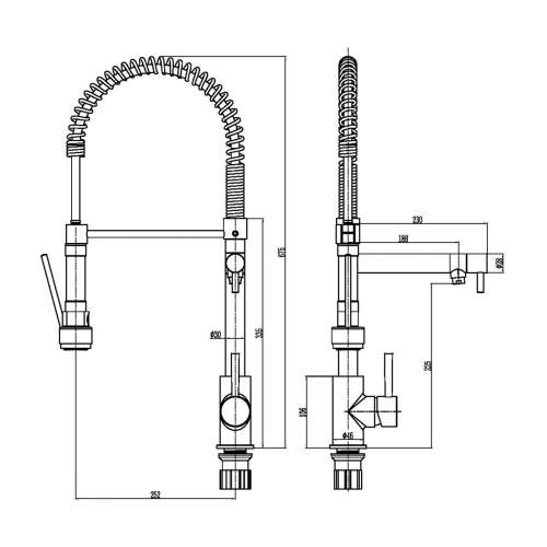 Reginox Ariege Tap with Flexible Spray and Swivel Spout in Chrome