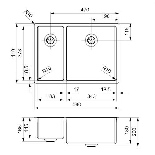 Reginox NEW JERSEY 18x37+34x37 Reduced Depth 1.5 Bowl Sink