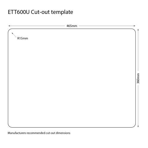 Caple Ettra 600 Ceramic Undermount Sink Cut Out Template