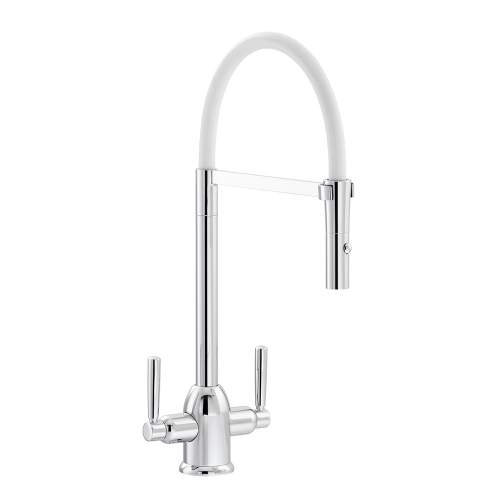 Carron Phoenix Dante Pull Out Twin Lever Kitchen Tap with Silicon Hose