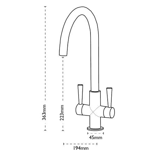 Carron Phoenix Henley Twin Lever WRAS Approved Kitchen Tap