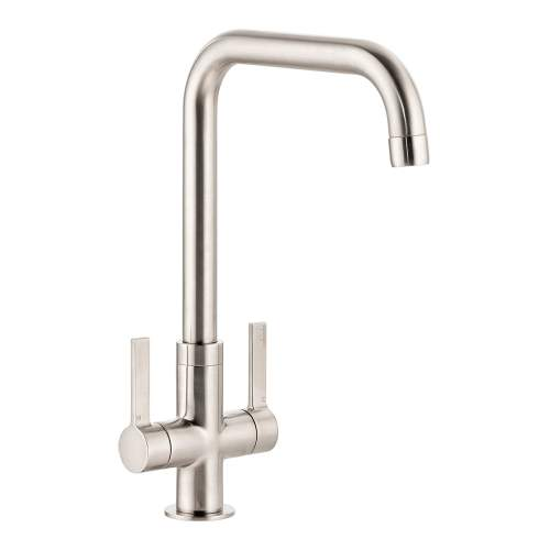 Abode Pico Quad Twin Lever Monobloc Kitchen Tap in Brushed Nickel AT2135