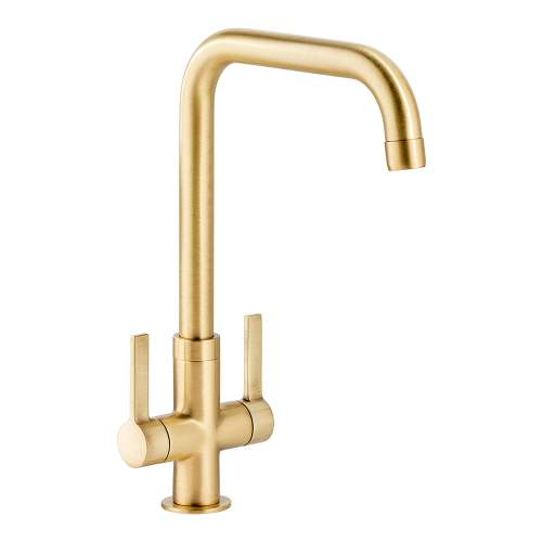Abode Pico Quad Twin Lever Monobloc Kitchen Tap in Brushed Brass AT2136