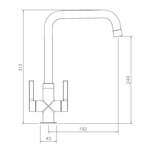 Abode Pico Quad Twin Lever Monobloc Kitchen Tap Technical Specifications