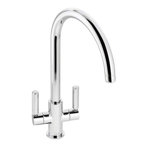 Abode Globe Twin Lever Monobloc Kitchen Tap in Chrome AT2138