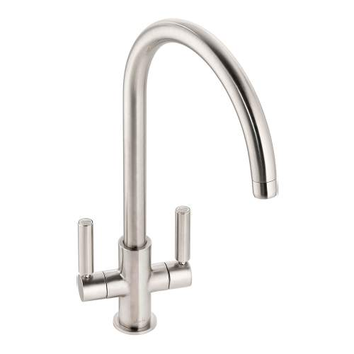 Abode Globe Twin Lever Monobloc Kitchen Tap in Brushed Nickel AT2139