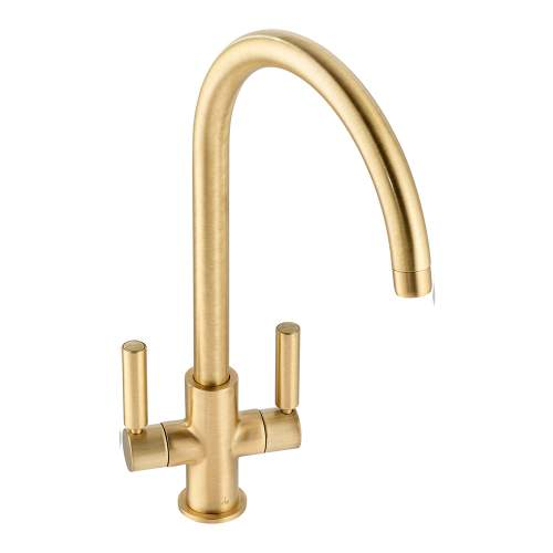 Abode Globe Twin Lever Monobloc Kitchen Tap in Brushed Brass AT2140