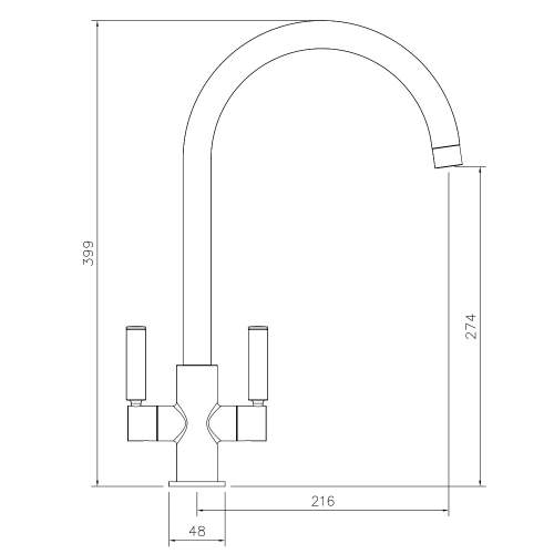 Abode Globe Twin Lever Monobloc Kitchen Tap Technical Drawing
