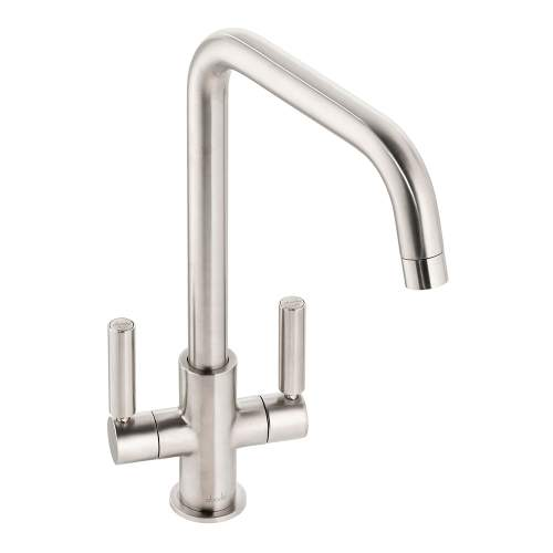 Abode Globe  Quad Twin Lever Monobloc Kitchen Tap in Bruhsed Nickel AT2143