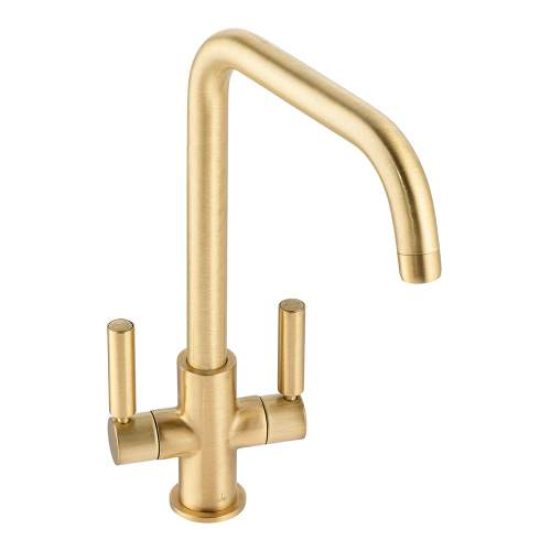 Abode Globe  Quad Twin Lever Monobloc Kitchen Tap in Brushed Brass AT2144