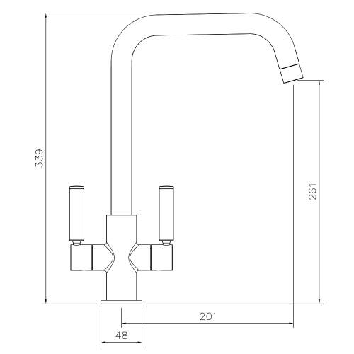 Abode Globe  Quad Twin Lever Monobloc Kitchen Tap Technical Drawing