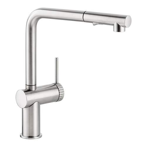 Abode Fraction Single Lever Pull Out Spray Kitchen Tap in Brushed nickel AT2157