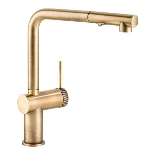 Abode Fraction Single Lever Pull Out Spray Kitchen Tap in Brushed Brass AT2158