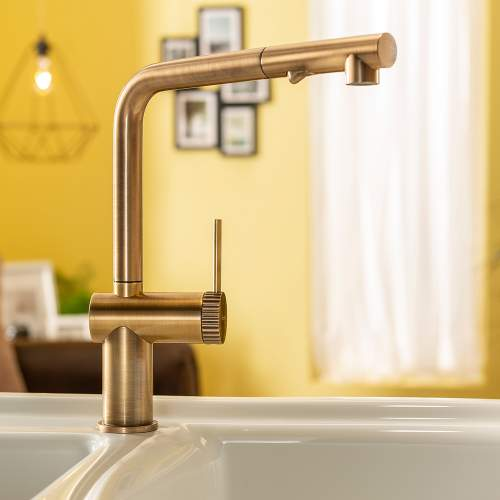 Abode Fraction Single Lever Pull Out Spray Kitchen Tap
