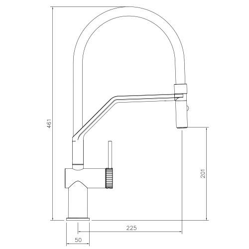 Abode Fraction Professional Pull Around With Spray Kitchen Tap Technical Drawing