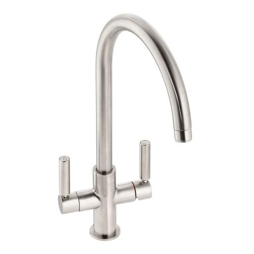 Abode Globe Aquifier Twin Lever Water Filter Kitchen Tap in Brushed Nickel AT2174