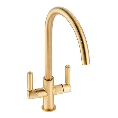 Abode Globe Aquifier Twin Lever Water Filter Kitchen Tap in Brushed Brass AT2175
