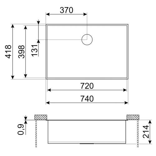Smeg Quadra VSTQ72-2 Undermount Large Single Bowl Sink