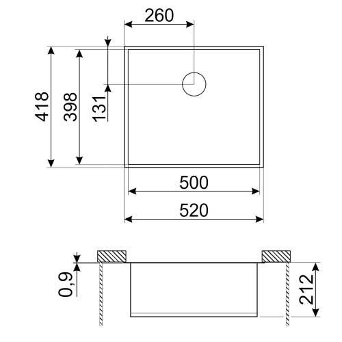 Smeg Quadra VSTQ50-2 Undermount Single Bowl Sink