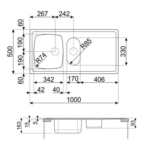 Smeg Omni LYP102R Reversible 1.5 Bowl Kitchen Sink with Drainer