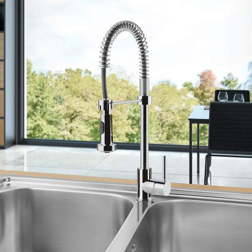Smeg MID9CR Semi Professional Single Lever Pull Out Spring Spout Kitchen Tap