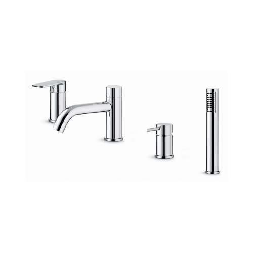 Vema Timea Chrome 4-Hole Deck Mounted Bath Shower Mixer