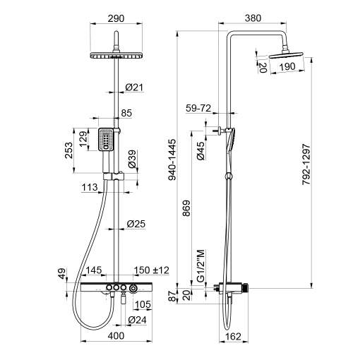 Bluci Black Thermostatic Mixer Shower Column with Fixed Head, Riser and Foot Wash