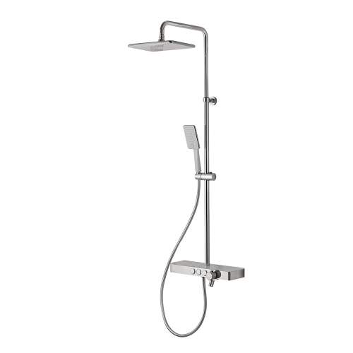 Bluci White and Chrome Thermostatic Mixer Shower Column
