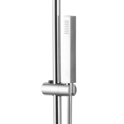 Bluci Chrome Square Bar Thermostatic Shower Valve with Fixed Head and Riser