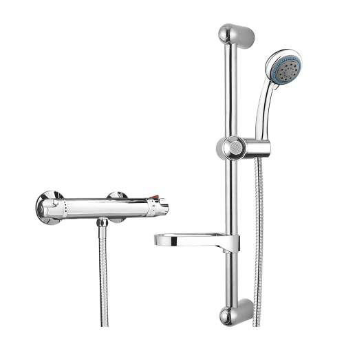 Bluci Low Pressure Thermostatic Bar Mixer Shower with Riser Kit