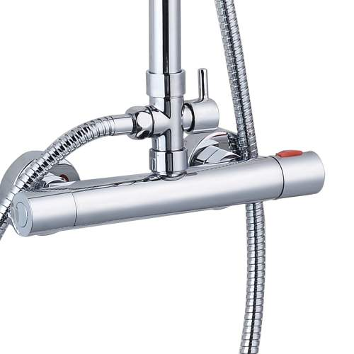 Bluci Rondi Thermostatic Bar Mixer with Round Handset and Overhead