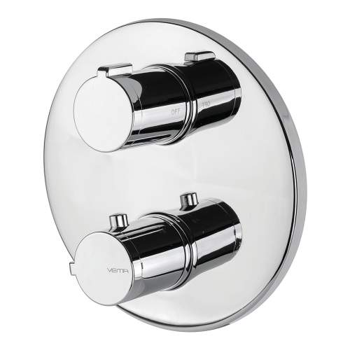 Bluci Round Two Outlet Chrome Thermostatic Shower Valve