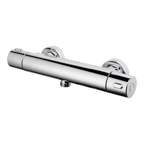 Bluci Round Single Outlet Chrome Thermostatic Shower Bar Valve