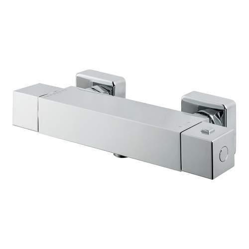 Bluci Square Single Outlet Chrome Thermostatic Shower Bar Valve