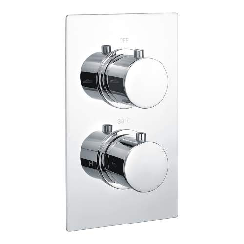 Bluci Circa Chrome Single Outlet Thermostatic Twin Shower Valve