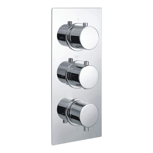 Bluci Circa Chrome Two Outlet Thermostatic Triple Shower Valve
