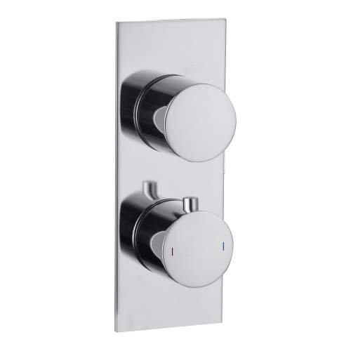 Bluci Chrome Slim Plate Single Outlet Thermostatic Twin Shower Valve