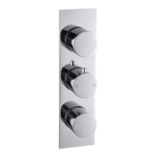 Bluci Sphere Chrome Slim Plate Two Outlet Thermostatic Triple Shower Valve