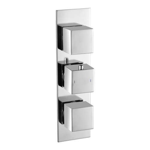 Bluci Two Outlet Chrome Rhomba Slim Plate Thermostatic Triple Shower Valve