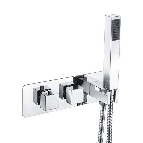Bluci Targa Two Outlet Chrome Thermostatic Shower Valve with Handset