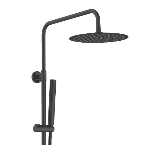 Bluci Matt Black Thermostatic Shower Column with Fixed Head and Riser